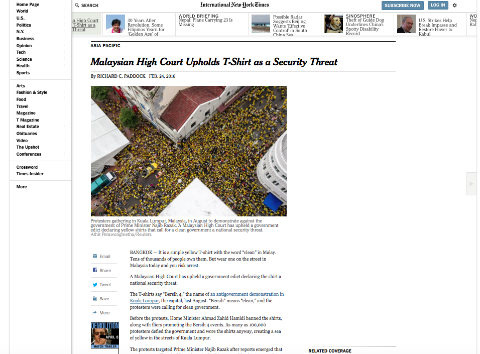 The New York Times - Malaysian High Court Upholds T-Shirt as a Security Threat
